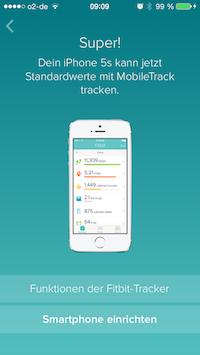 fitbit auf dem iPhone MobileTrack