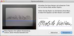 Signaturerfassung mit FaceTime HD
