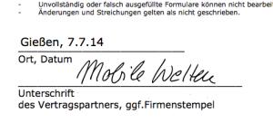 Signatur im Dokument