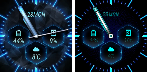 Asus Zenwatch 2 aktives und inaktives Display
