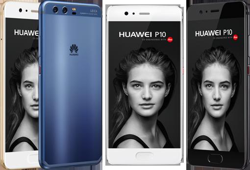Huawei P10 in den Farben Prestige Gold, Dazzling Blue, Mystic Silver und Graphite Black